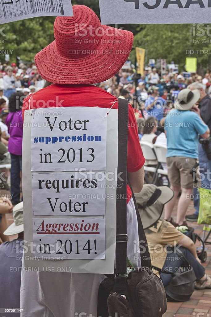 Moral Monday Rally Voting Sign stock photo