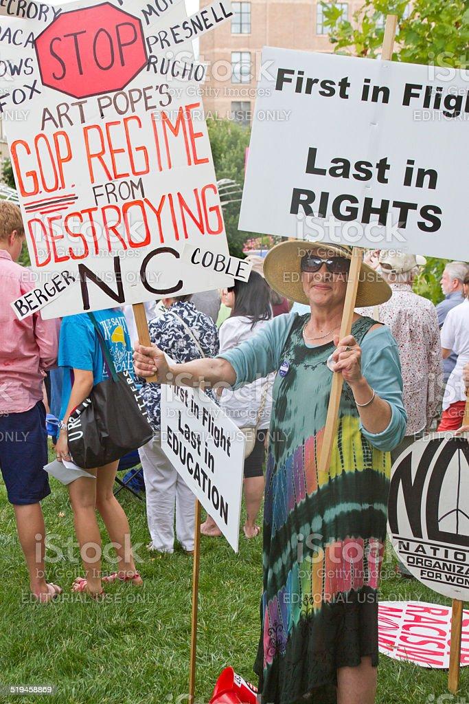 Moral Monday Signs Protesting North Carolina GOP Politics stock photo