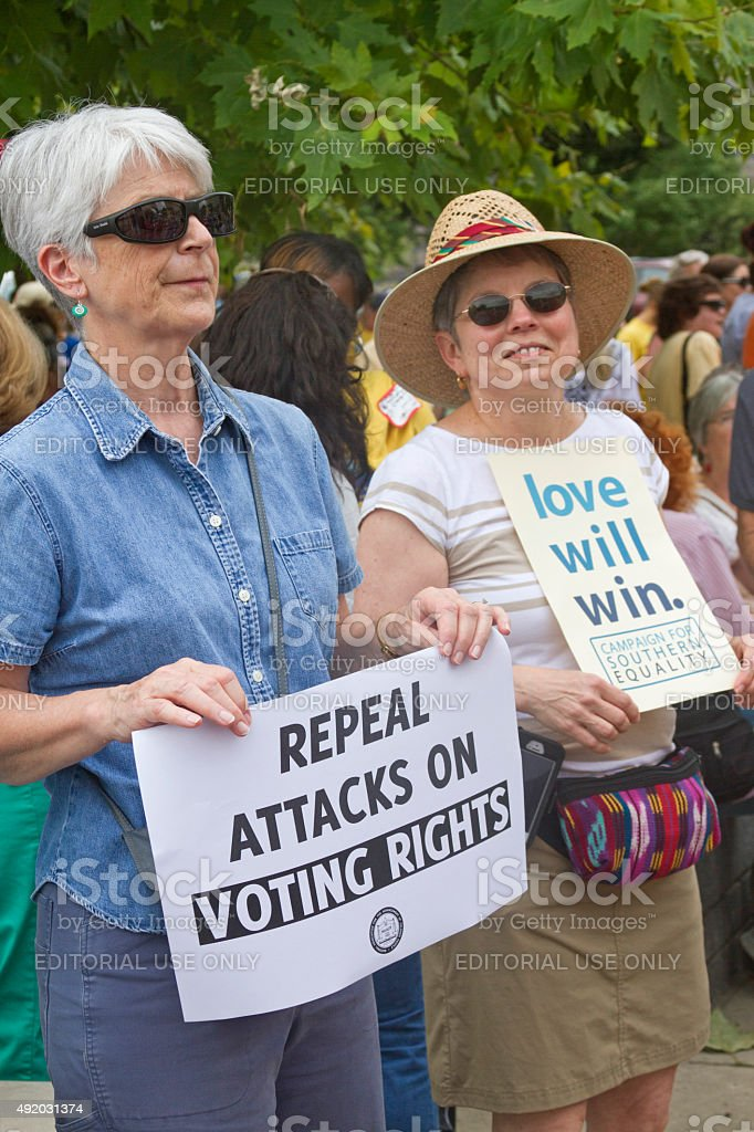 Moral Monday Voting Rights and Love Signs stock photo