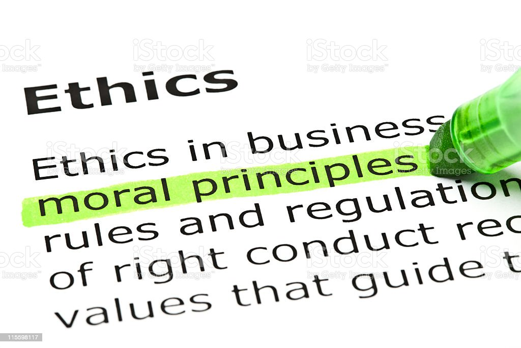'Moral principles' highlighted in green stock photo