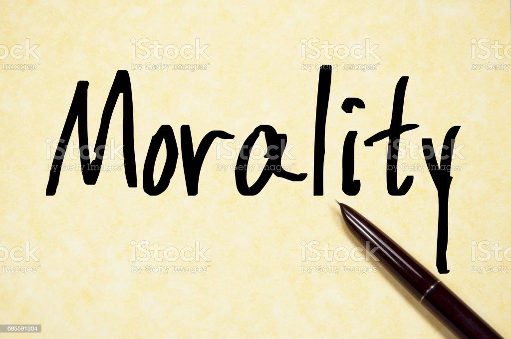 道德一詞寫在紙上 免版稅 stock photo