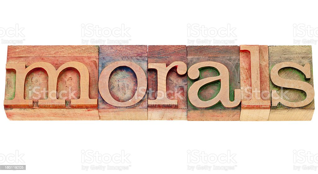 morals word in lettepress type royalty-free stock photo