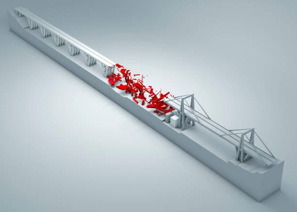 morandi pont de gênes, s'est effondré de pont, manque d'entretien. reconstruction et la démolition du pont entier. italie - pont gênes photos et images de collection