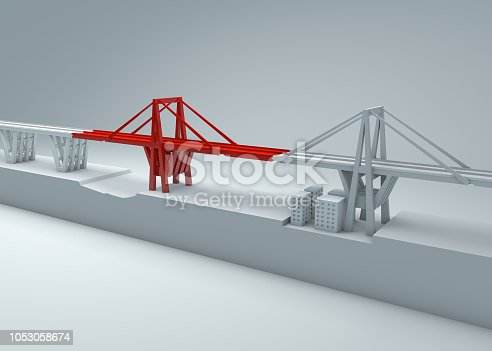 Morandi Bridge of Genoa, collapsed bridge, poor maintenance. Reconstruction and demolition of the entire bridge. Italy, region of Liguria