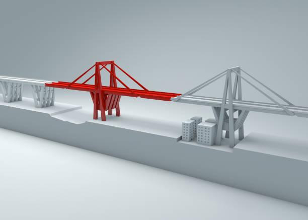 morandi pont de gênes, s'est effondré de pont, manque d'entretien. reconstruction et la démolition du pont entier. italie, ligurie - pont gênes photos et images de collection