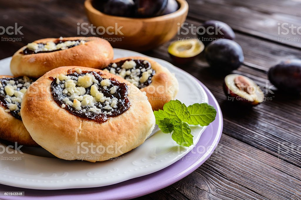 Moravian pies with plum jam, curd filling and crumble stock photo