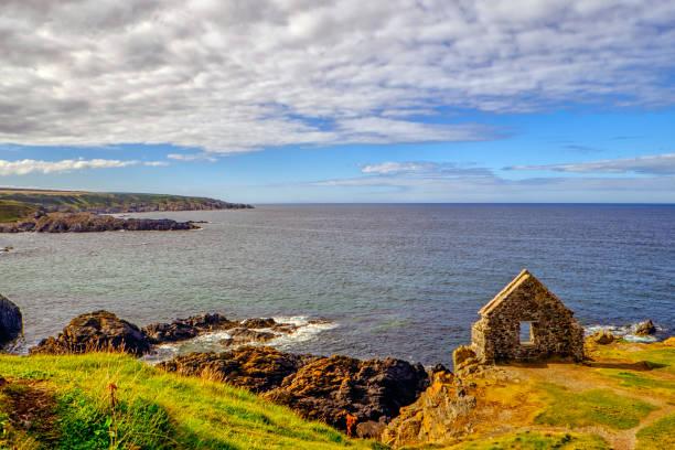 Moray Firth coast at Portsoy stock photo