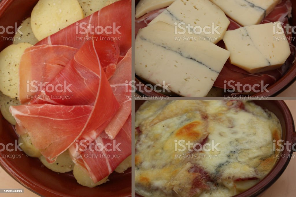 Morbier fondue with Bayonne ham and boiled potatoes - Royalty-free Baked Stock Photo