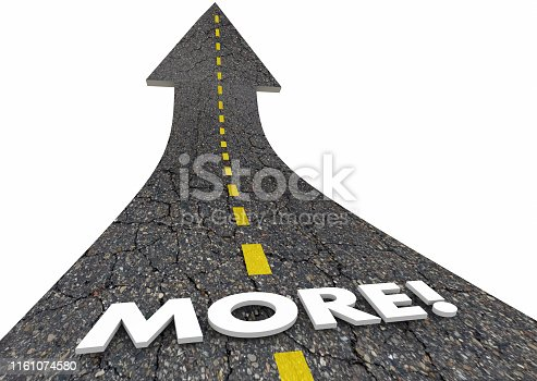 More Added Additional Increase Quantity Road Word 3d Illustration