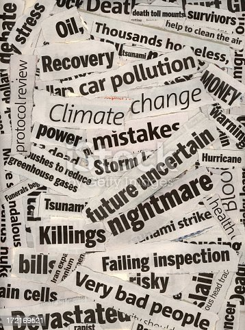 news headlines focusing on climate change and negative topics