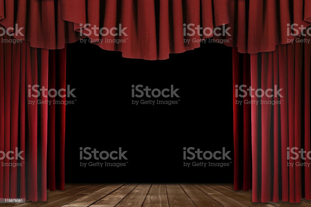 More Red Drapes With Wood Floor royalty-free stock photo