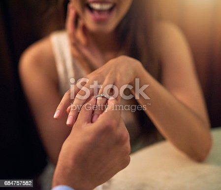 Cropped shot of a woman wearing an engagement after getting proposed to