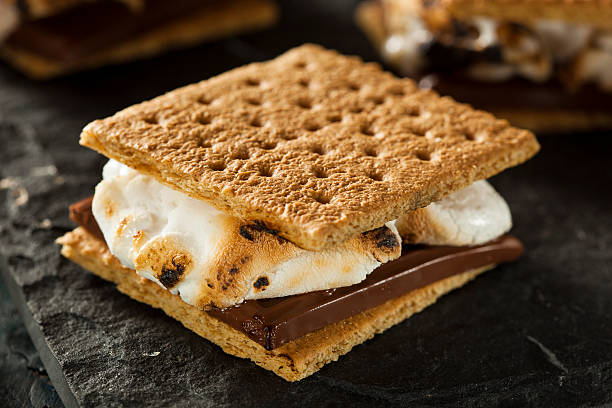 S'more with burnt marshmallow and melted chocolate stock photo