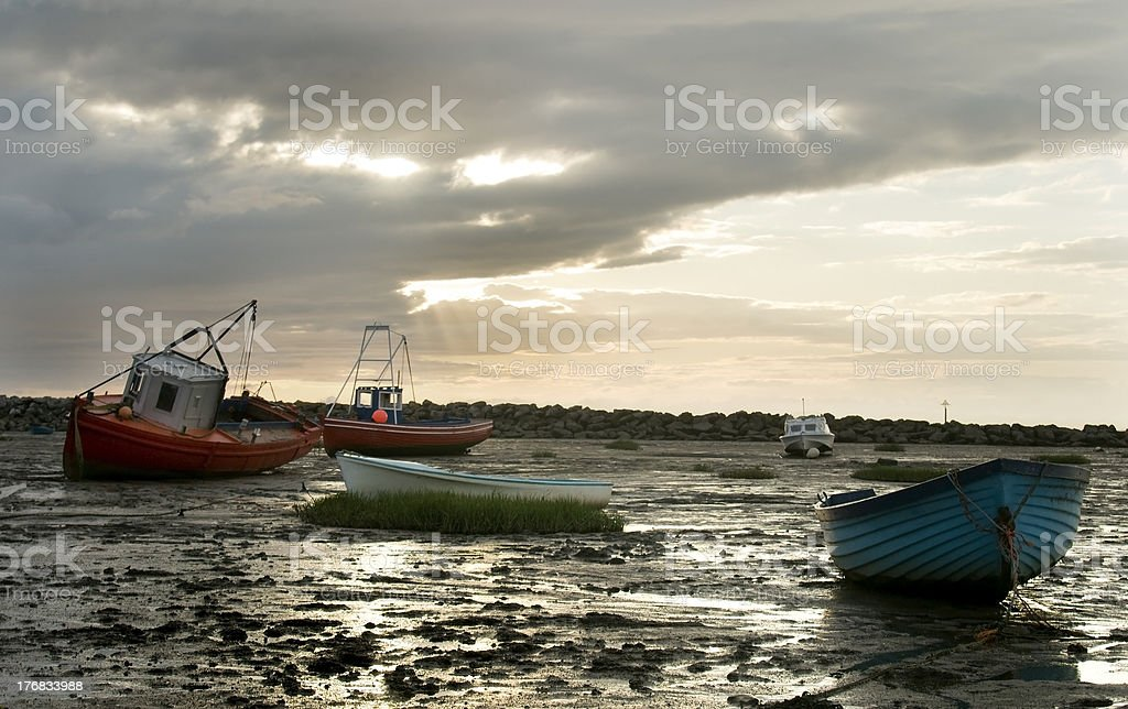 Morecambe Bay in late evening stock photo