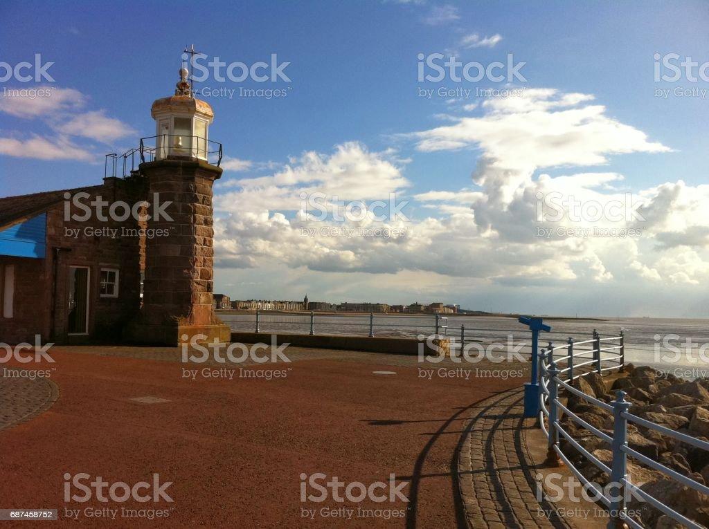 Morecambe Pier Lighthouse stock photo