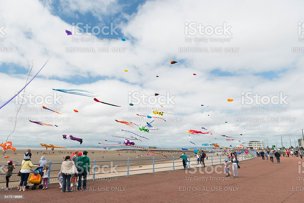 Morecambe Prom during the yearly kite festival stock photo