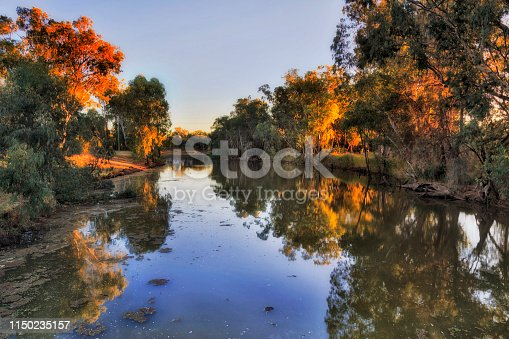 Gwydir river flowing through Moree town surrounded by leave trees at sunrise in warm rising sun light.