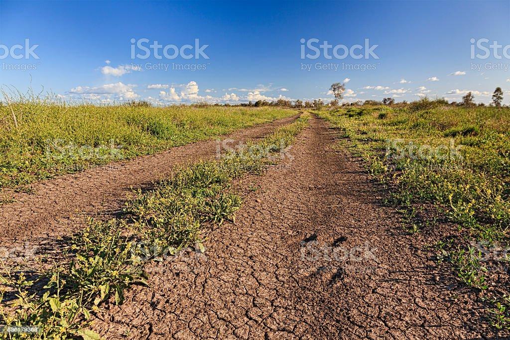 Moree Rural Arid Road Fields stock photo