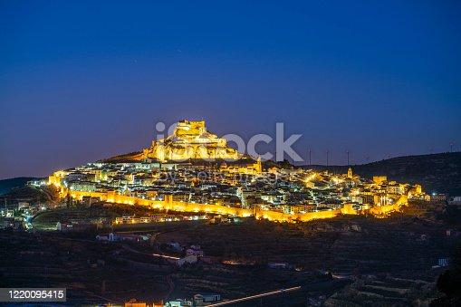 Morella sunset village skyline in Maestrazgo area of Castellon at Spain