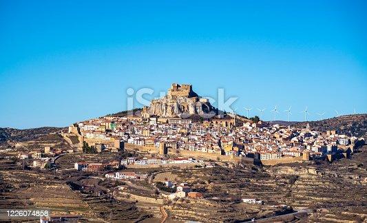 Morella village skyline in Maestrazgo area of Castellon at Spain
