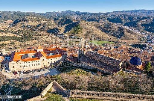 Morella village skyline in Maestrazgo of Castellon at Spain