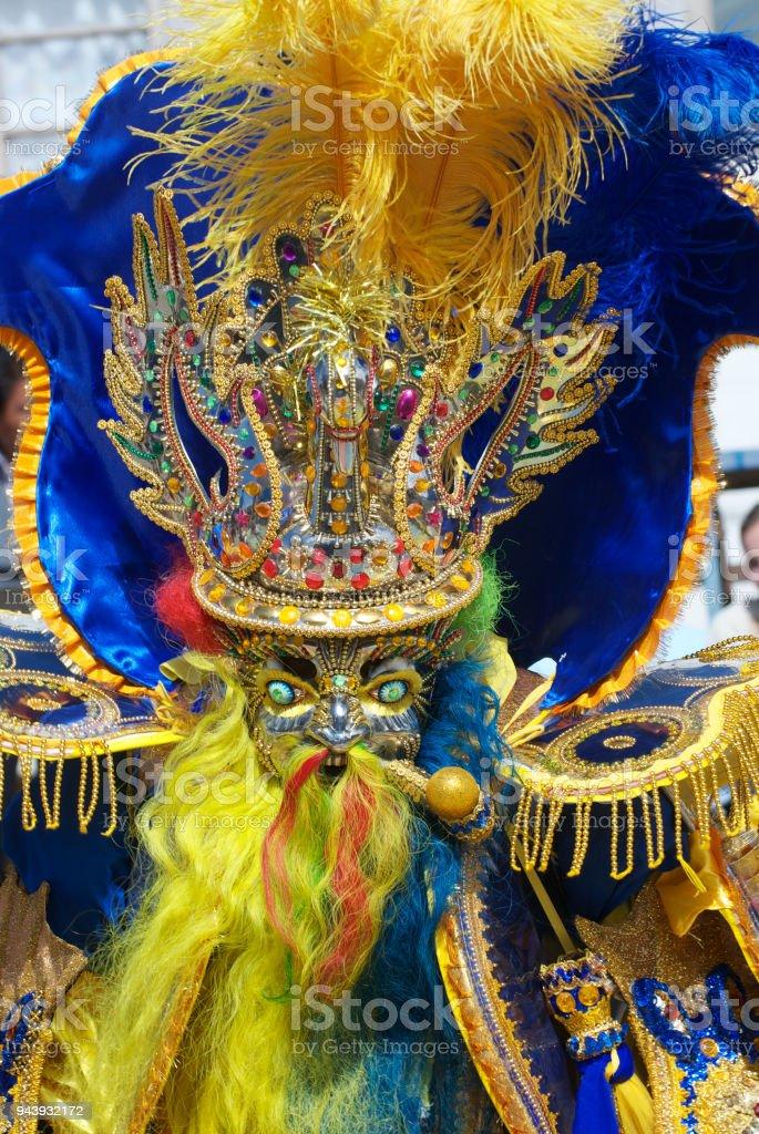 A Moreno Dancer in Oruro Carnival, Bolivia, declared UNESCO Cultural World Heritage. stock photo
