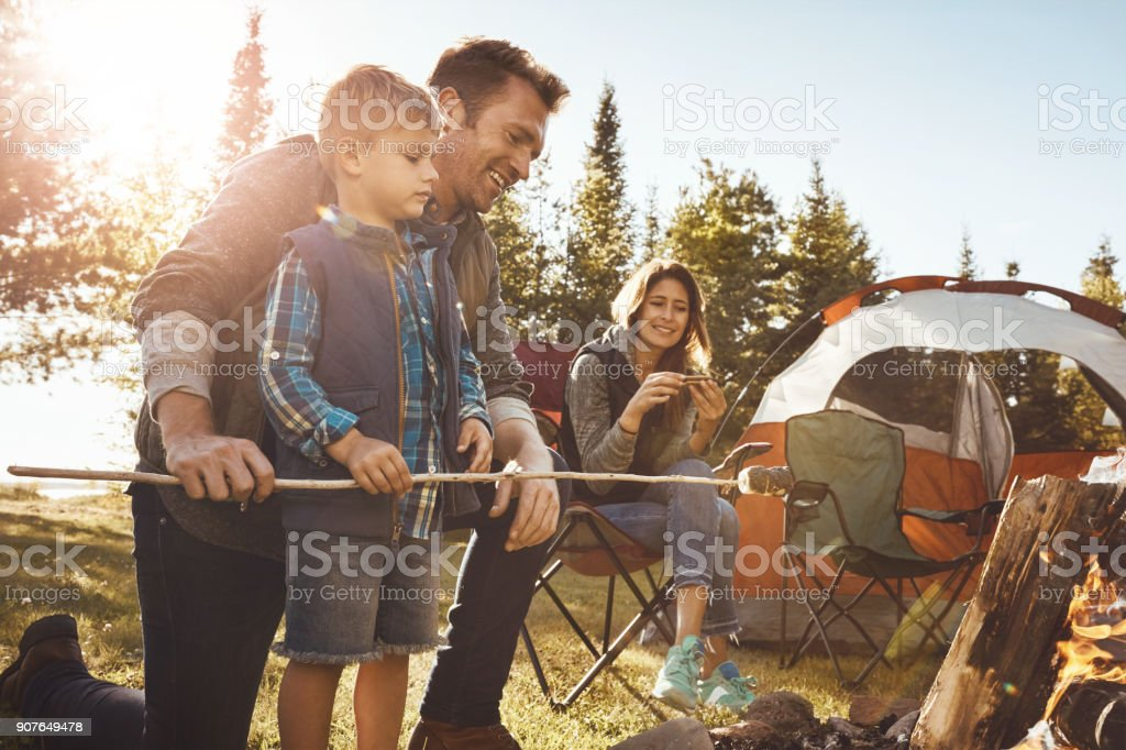 S'mores means some more especially when camping stock photo