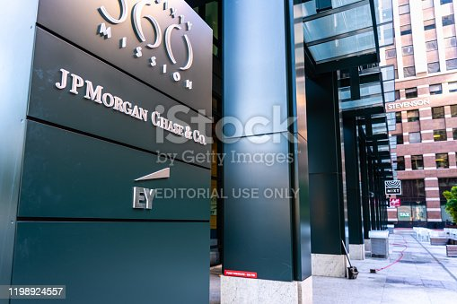 Dec 17, 2019 San Francisco / CA / USA - JP Morgan Chase & Co. and EY (Ernst & Young) offices in South Of Market District;