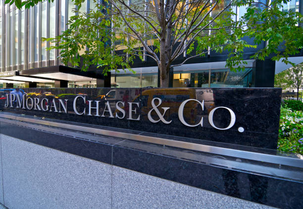 JP Morgan Chase & Co. Headquarters sign, Park Ave, NYC stock photo