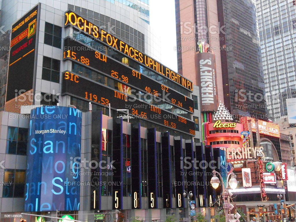 Morgan Stanley and Hershey's Buildings on Times Square. stock photo
