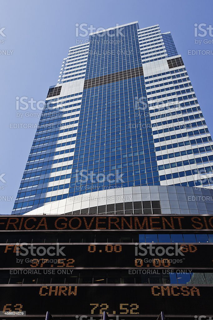 Morgan Stanley Bank in Times Square stock photo