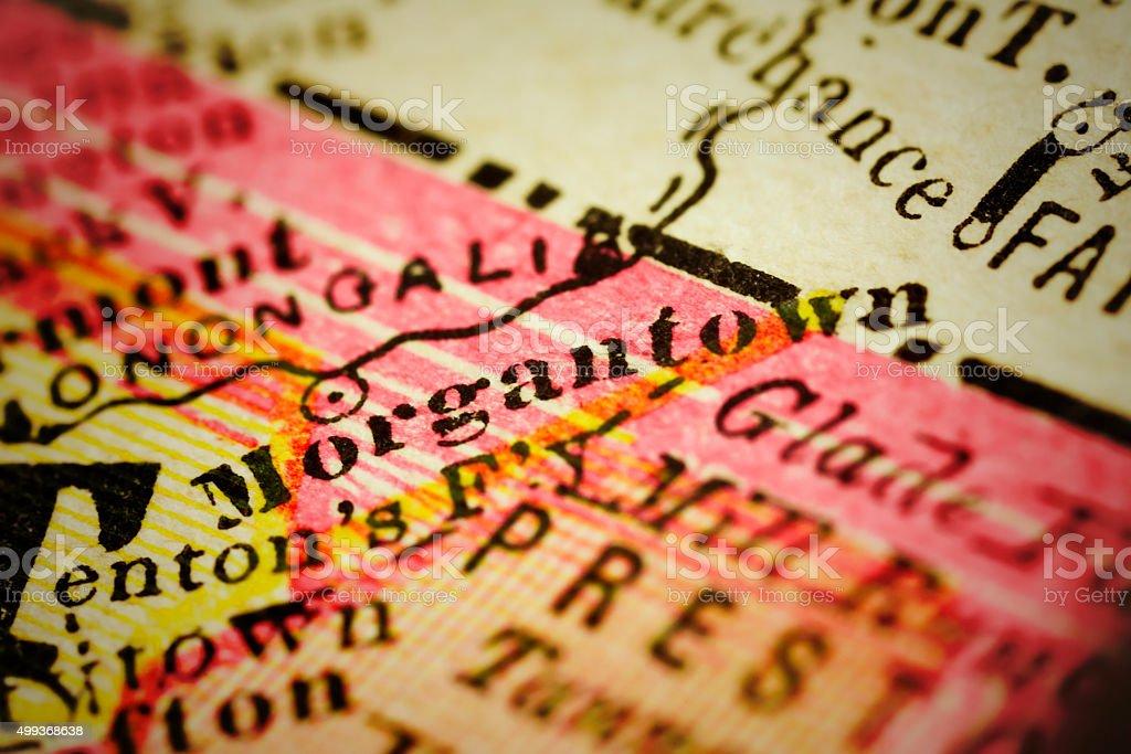 Morgantown | West Virginia on an Antique map stock photo