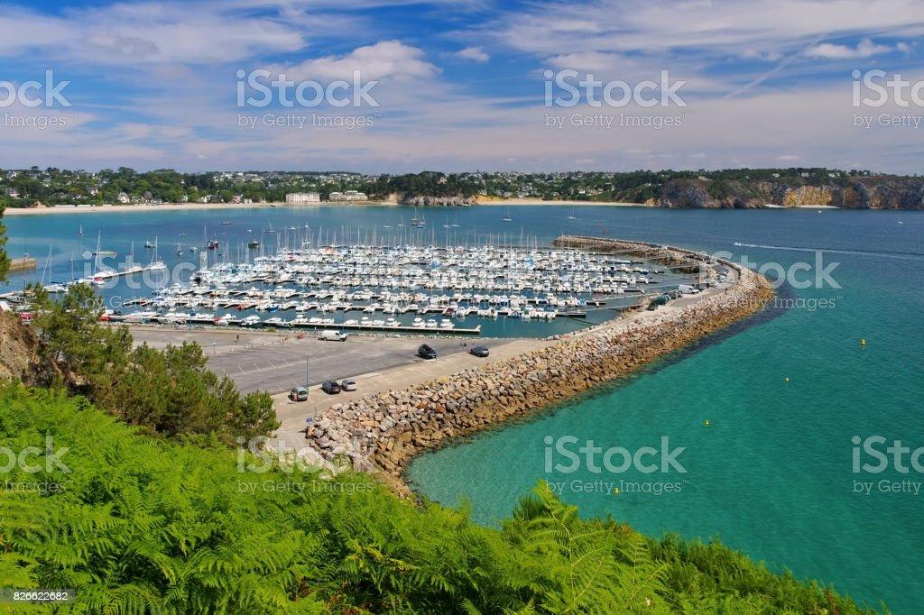 Morgat Marina near Batterie du Kador in Brittany, France stock photo