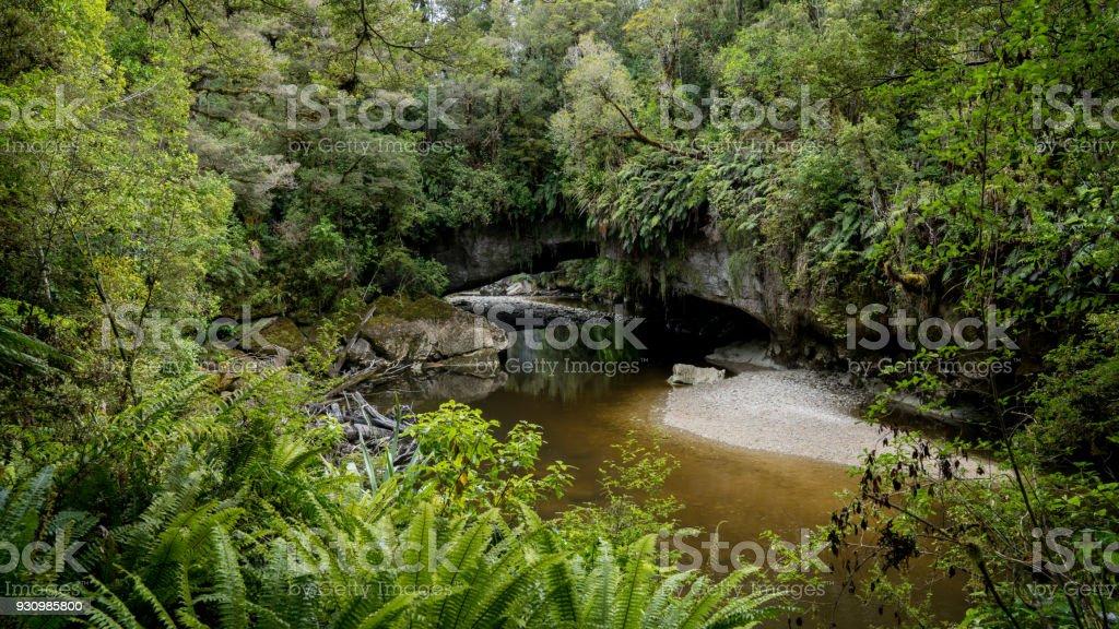 Moria Gate Arch Panorama, New Zealand stock photo