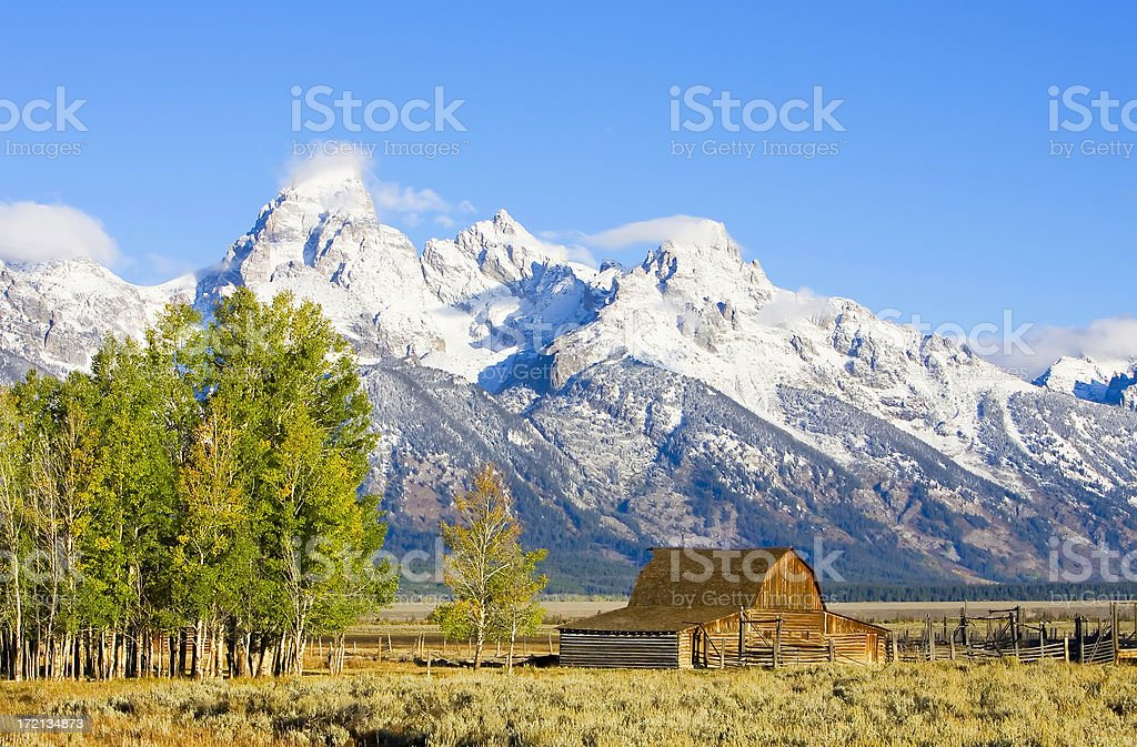 Mormon barn on the high plain royalty-free stock photo