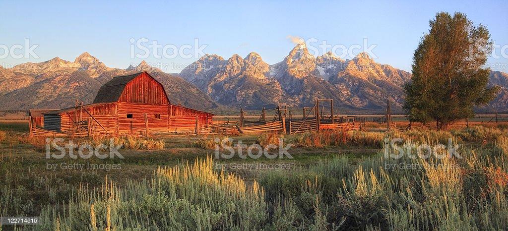 Mormon Row Barn Tetons stock photo