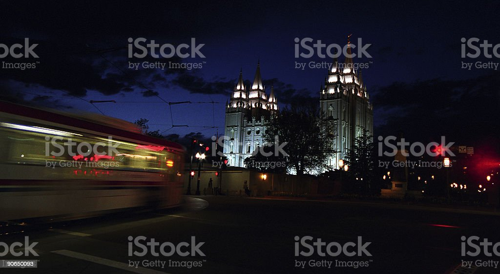 Mormon Temple at night royalty-free stock photo
