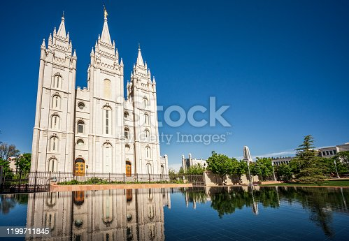 The Mormon Temple in the centre of Salt Lake City, Utah.