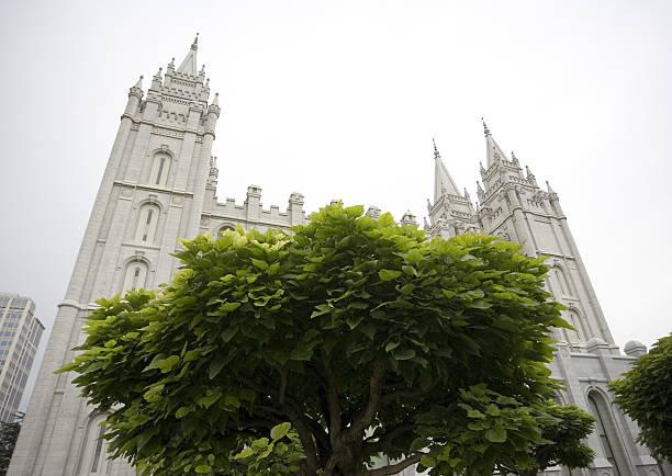 tempel der mormonen - trompetenbaum stock-fotos und bilder