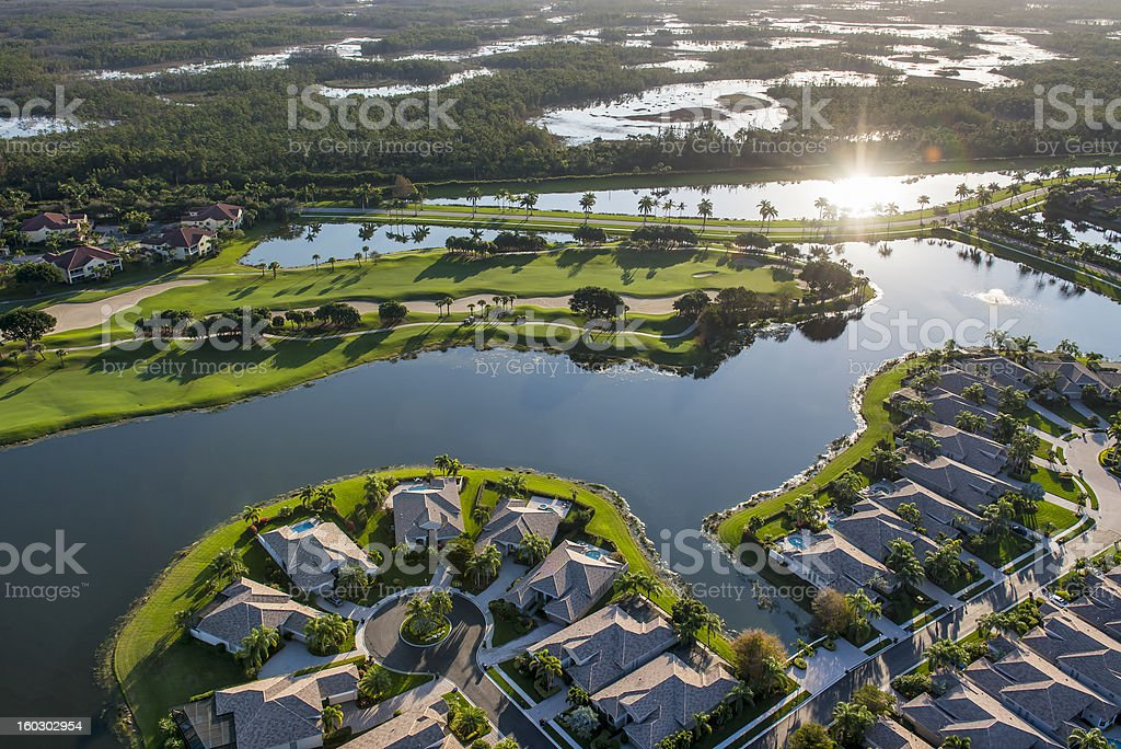 morning aerial view of golf community in south florida stock photo