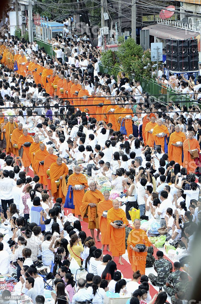 Morning alms-offering to 12600 Buddhist monks royalty-free stock photo
