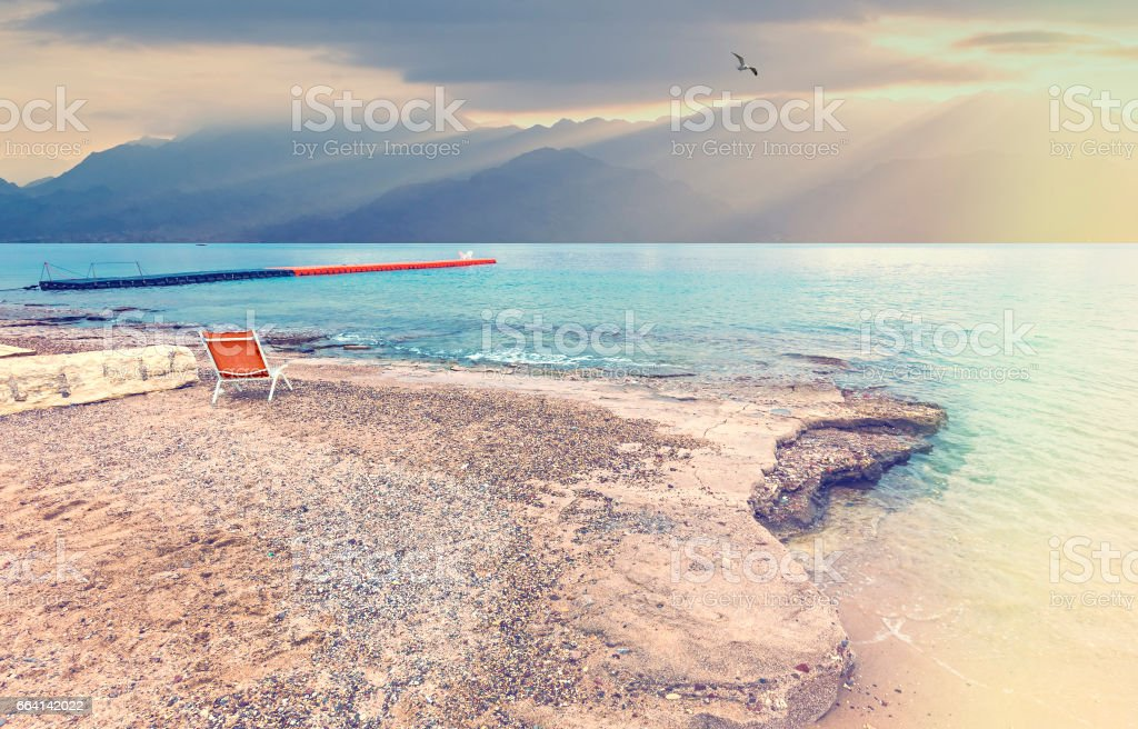 Morning at a coral beach of Eilat foto stock royalty-free