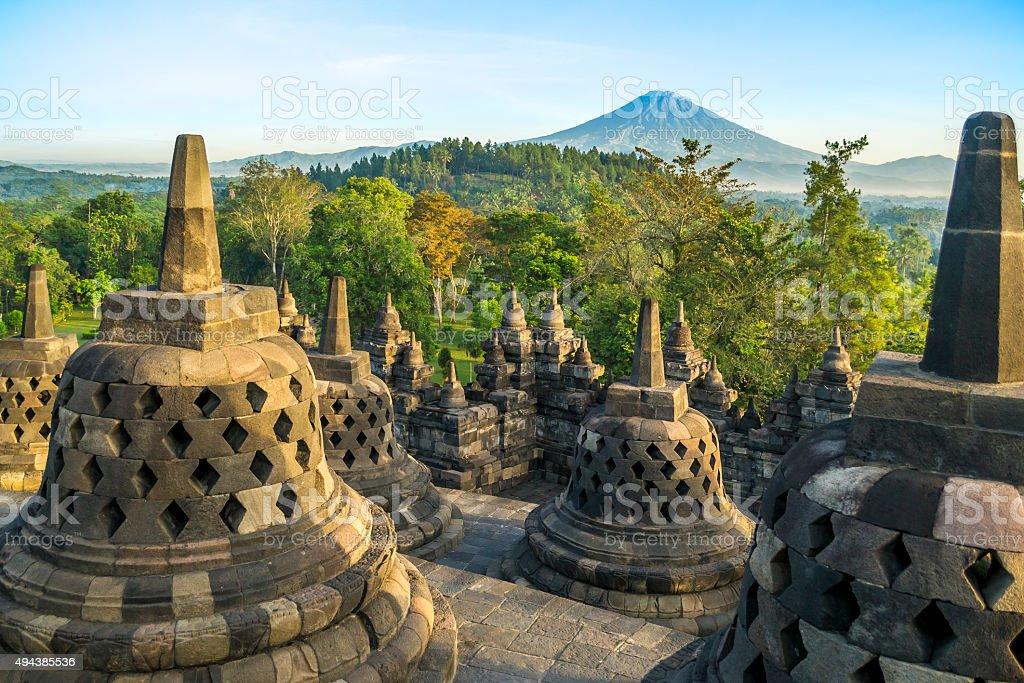 Morning at Borobudur stock photo