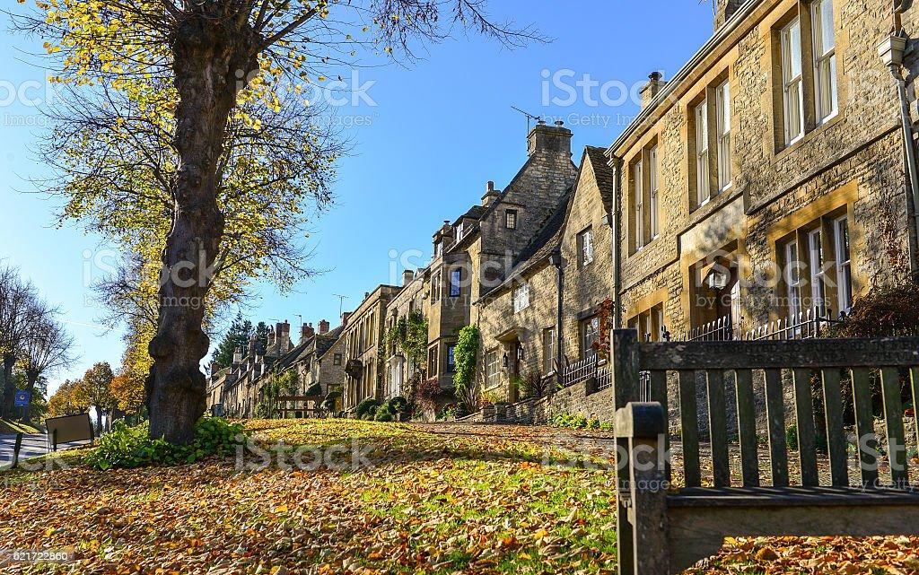 Morning at Burford village,UK stock photo