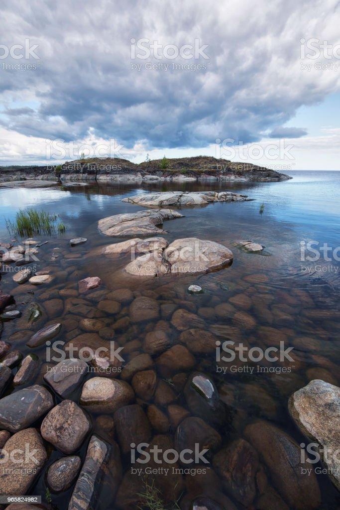 Morning at glacier pebble beach - Royalty-free Amanhecer Foto de stock