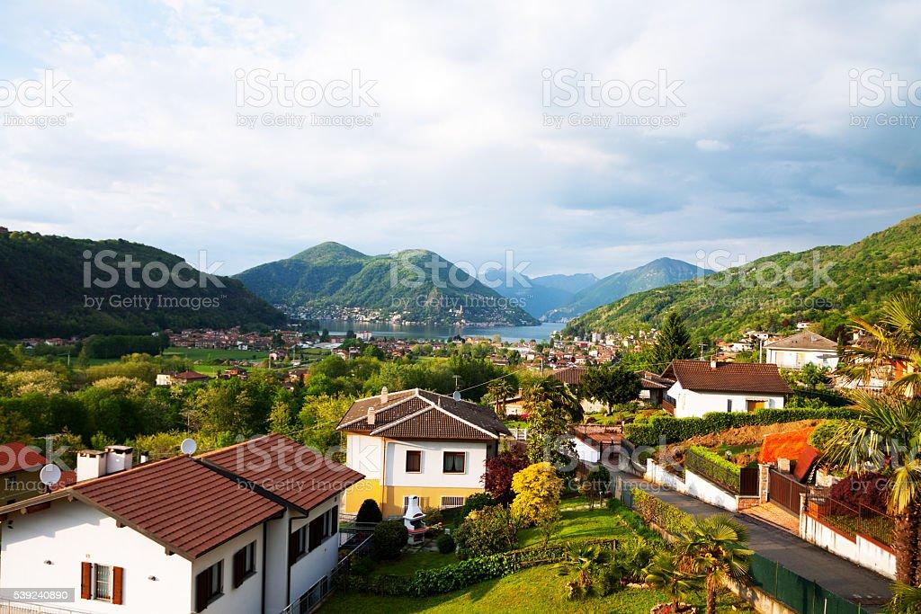 Morning at lake Lugano seen from Besano royalty-free stock photo