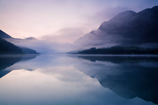 morning at lake plansee - lake stock photos and pictures