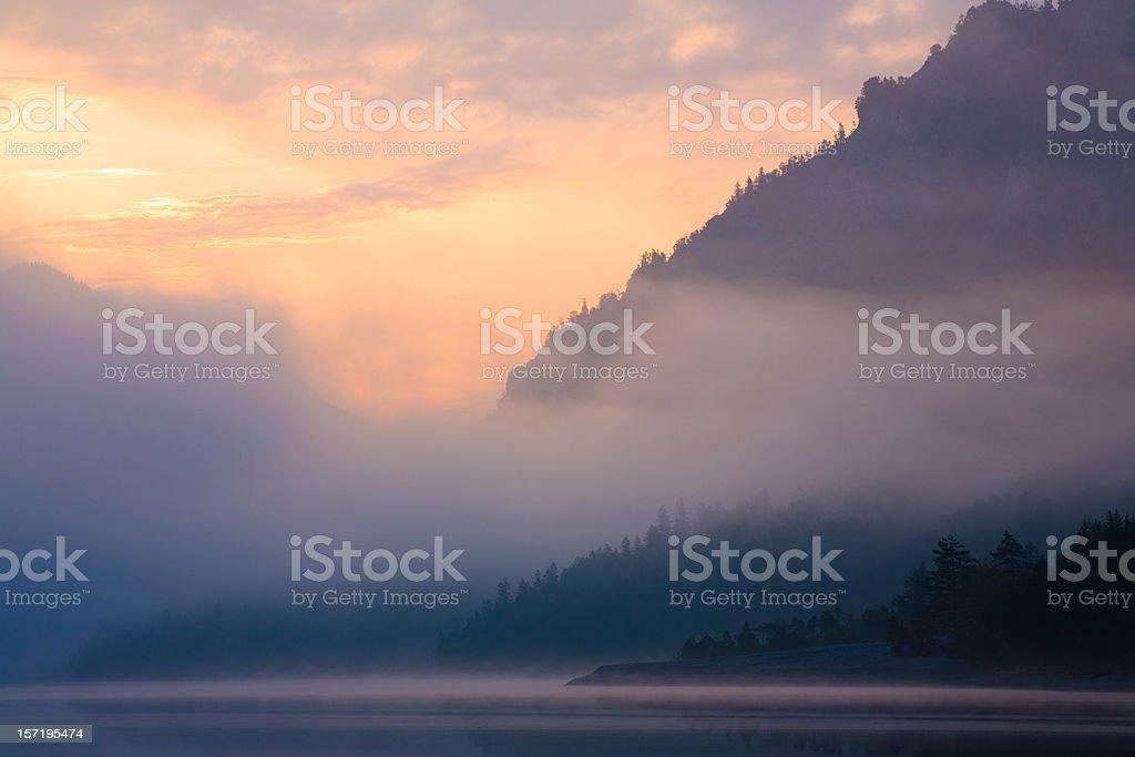 morning at lake plansee stock photo