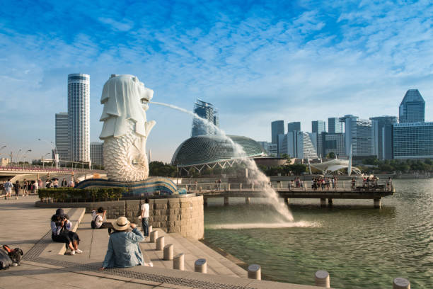 Morning at Merlion and Marina bay Morning at Merlion and Marina bay,Famous travel destinations in Singapore merlion fictional character stock pictures, royalty-free photos & images