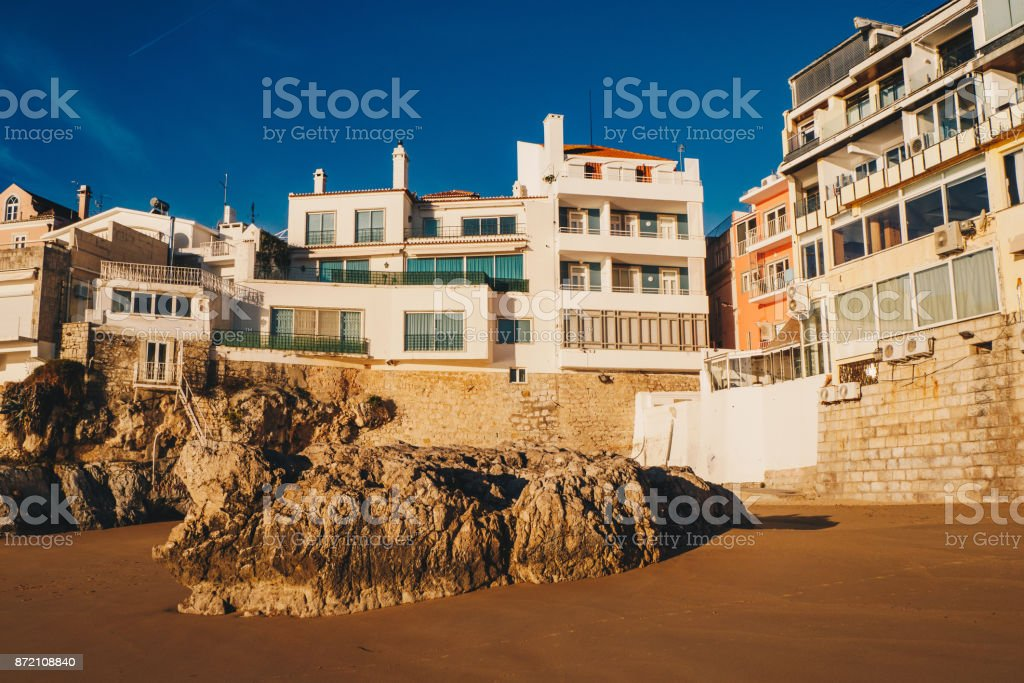 Morning at the beach in Cascais, Portugal stock photo